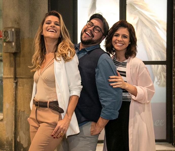 Ingrid Guimarães, Tiago Abravanel e Renata Gaspar (Foto: Globo/Paulo Belote)