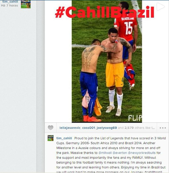 Tim Cahill celebra nas redes sociais ter marcado gols em três Copas do Mundo consecutivas (Foto: Reprodução/Instagram)