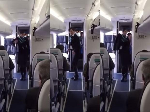 [Internacional] Aeromoça dança hit para passageiros e vídeo faz sucesso na internet Aeromocafunk1