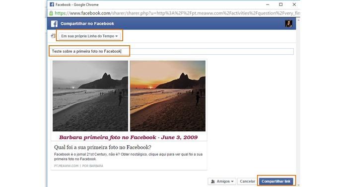Compartilhe o resultado com seus amigos do Facebook (Foto: Reprodução/Barbara Mannara)