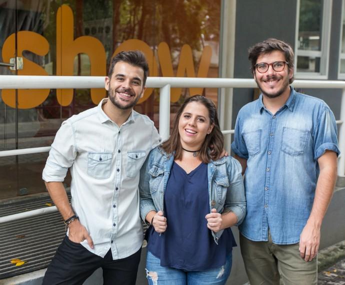 Guilherme Sousa, Tatiana Machado e Eduardo Wolff comandam o Boletim BBB (Foto: Foto: Artur Meninea)
