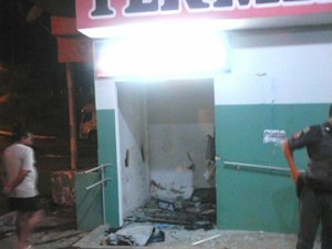 Caixas eletrônicos ficavam dentro de rodoviária de Pedro de Toledo (Foto: Divulgação/Polícia Militar)