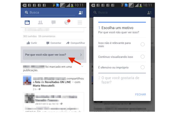 Informando o Facebook o motivo de ocultar um anúncio pelo Android (Foto: Reprodução/Marvin Costa)