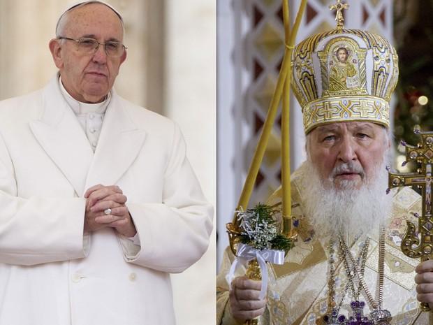 O Papa Francisco, em foto de 30 de janeiro, e o Patriarca da Igreja Ortodoxa Russa, Kirill, em foto de 7 de janeiro (Foto: AP Photo/Ivan Sekretarev/Andrew Medichini)