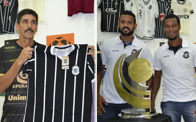 Arildo Ratão com a nova camisa do Rio Branco-ES e jogadores do atual time Capa Preta, além do troféu do Capixabão (Foto: João Brito/GloboEsporte.com)