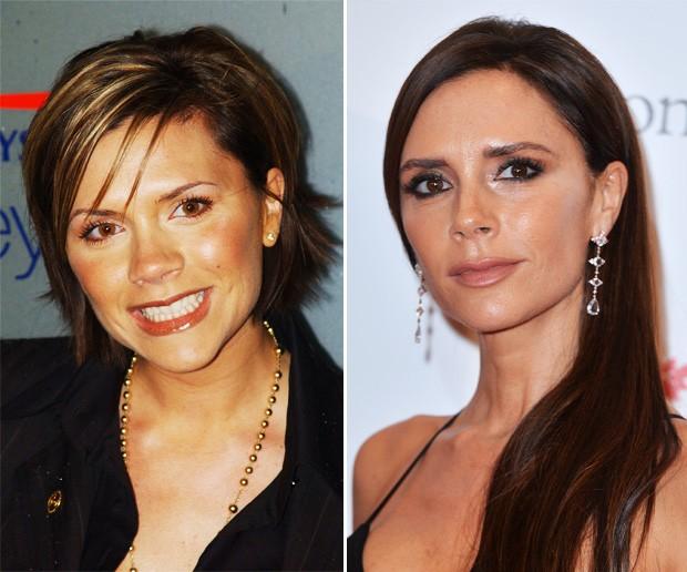 Antes e depois: Victoria Beckham (Foto: Getty Images)