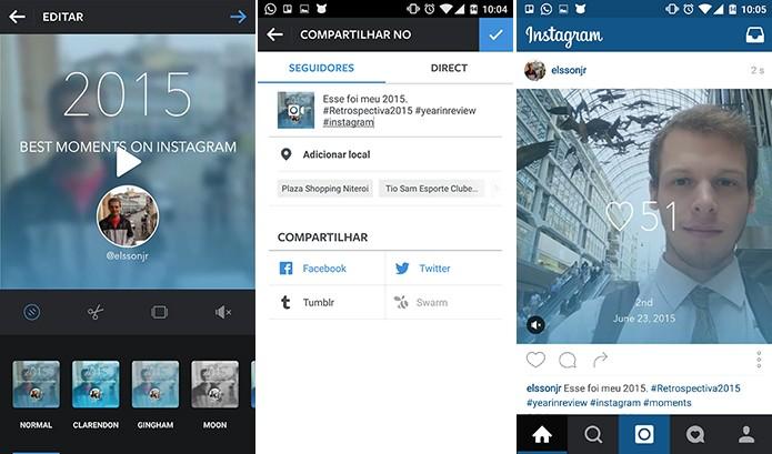 Edite sua retrospectiva do Instagram como quiser e poste na rede social normalmente (Foto: Reprodução/Elson de Souza)