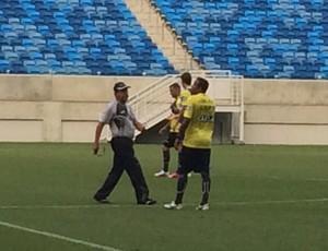 Zé Teodoro e Rogerinho - treino do ABC (Foto: Klênyo Galvão/GloboEsporte.com)