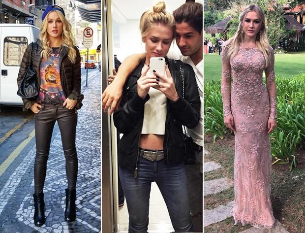 No dia a dia, Fiorella prefere jeans e camiseta com peas de couro. Nas ocasies formais, adora os modelos da estilista Patricia Bonaldi, como este longo ros  direita. (Foto: Reproduo / Instagram )