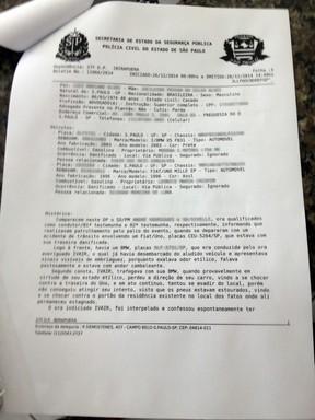 Boletim de Ocorrência do acidente do cantor Renner (Foto: Reprodução)