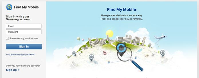 Site Samsung Dive, que permite localizar seu smartphone Galaxy (Foto: Reprodução)