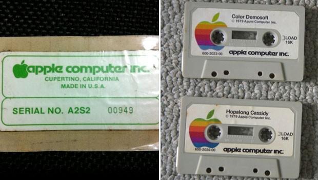 Luiz Pellanda não tem mais o seu Apple II, mas manteve a etiqueta que mostra o número serial da máquina e as fitas do computador (Foto: Arquivo Pessoal)