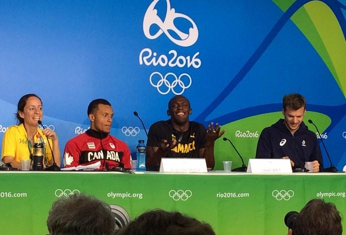 Usain Bolt é vítima de pegadinha em coletiva (Foto: Marcos Guerra)