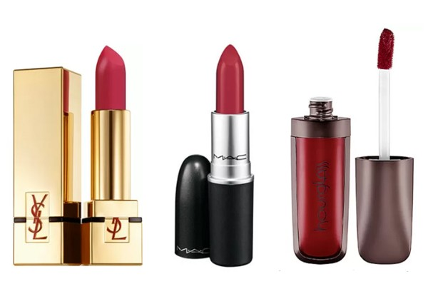 Rouge Couture Matte 204, YSL; Ruby Woo, da M.A.C.; Batom vermelho líquido, da Hourglass (Foto: Divulgação)