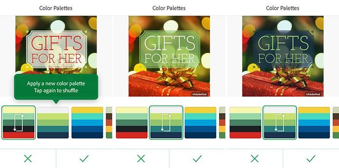 Adobe Post tem paleta de cores que pode modificar aparência de cartões (Foto: Reprodução/Elson de Souza)