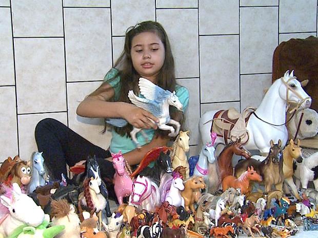 Menina de Ribeirão Preto, SP, sonha em ser amazona (Foto: Reprodução EPTV)