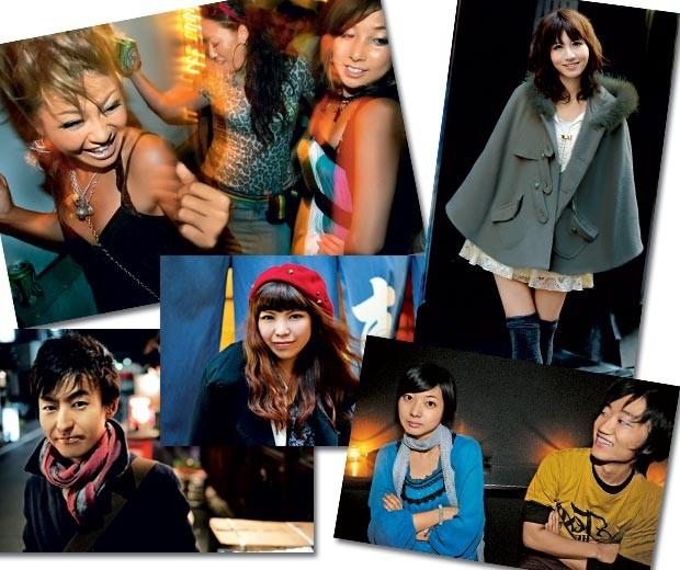 """A partir do alto, em sentido horário, retratos de uma geração sem libido: garotas em casa noturna de Tóquio; a economista Eri Asada, 22 anos; jovens na balada; a estudante Emi Kuwahata, 31 anos; e Saturo Kishinho, 31 anos, um dos """"homens herbívoros"""" do Japão (Foto: Marie Claire)"""