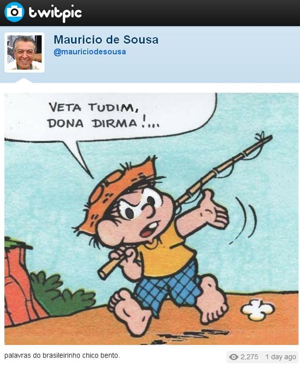 Ilustração divulgada no Twitter do cartunista Maurício de Sousa mostra o personagem Chico Bento pedindo o veto ao Código Florestal. (Foto: Divulgação)