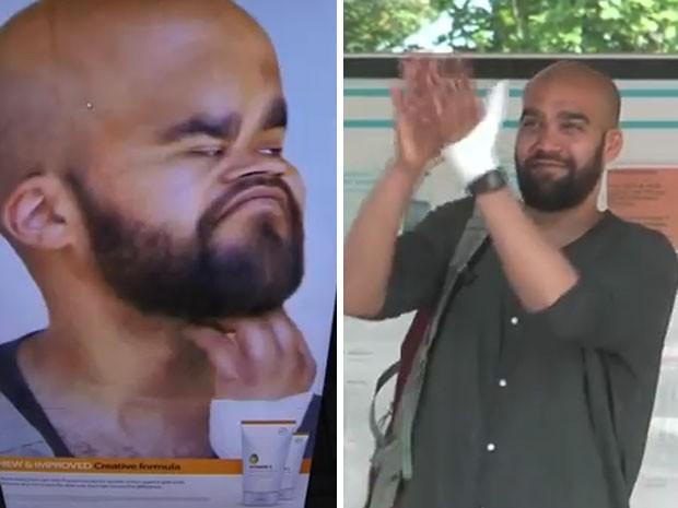 Homem aplaude ao ver sua imagem manipulada no anúncio em um ponto de ônibus na Suécia (Foto: Divulgação/Adobe)