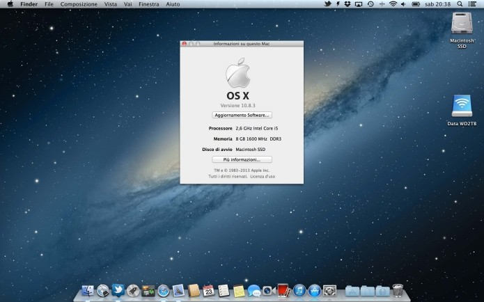 OS X 10.8 Mountain Lion: primeira versão a ser chamada oficialmente de OS X em vez de Mac OS X (Foto: Divulgação/Apple)