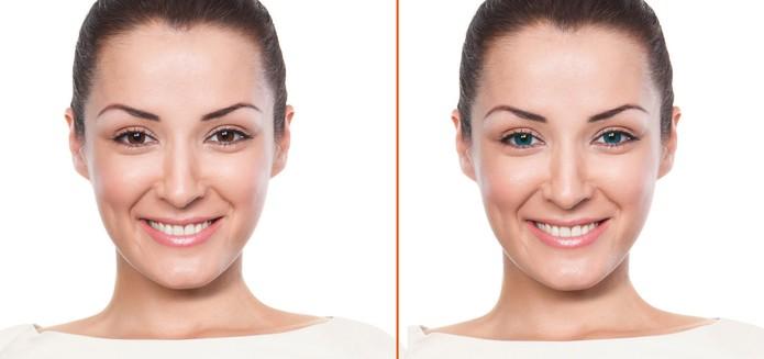 Antes de depois da imagem com os olhos de outra cor (Foto: Reprodução/Barbara Mannara) (Foto: Antes de depois da imagem com os olhos de outra cor (Foto: Reprodução/Barbara Mannara))