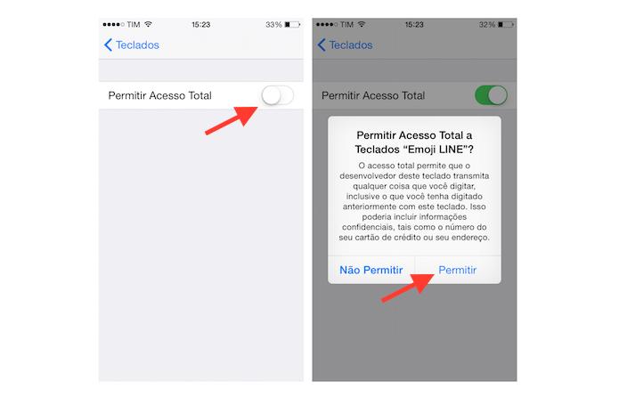 Permitindo que o iOS tenha acesso total ao teclado Emoji Keyboard by LINE (Foto: Reprodução/Marvin Costa)