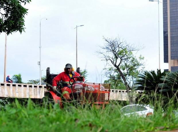 Servidor da Novacap realiza roçagem na área central de Brasília (Foto: Tony Winston/Agência Brasília)