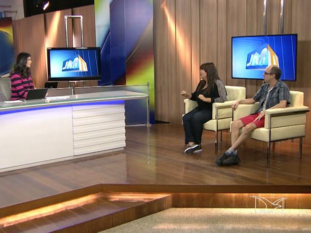 Tayse Feques bateu um papo com Fabiana Karla e Leandro da Matta no JMTV1 (Foto: Reprodução/ TV Mirante)