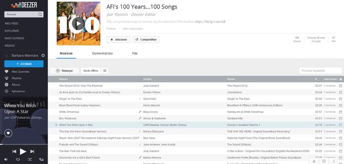 Playlist oferece coletânea com as 100 músicas imortalizadas pelo cinema (Foto: Reprodução/Barbara Mannara)