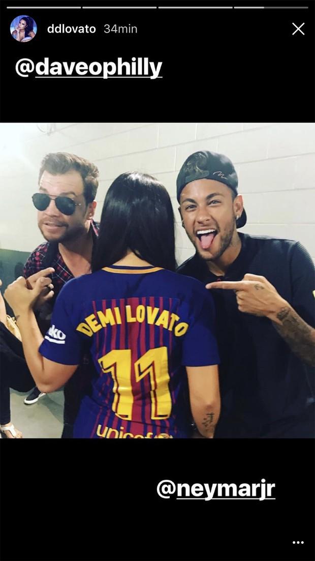 Dave Osokow, Demi Lovato e Neymar (Foto: Reprodução)