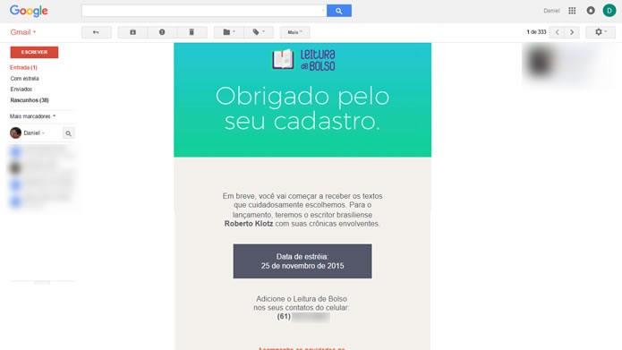 O Leitura de Bolso ainda envia uma mensagem para o e-mail cadastrado confirmando o registro (Foto: Daniel Ribeiro /TechTudo)