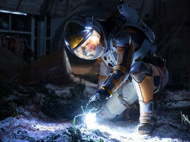 Matt Damon em cena do filme 'Perdido em Marte', de Ridley Scott (Foto: Giles Keyte/Fox Film/Divulgação)