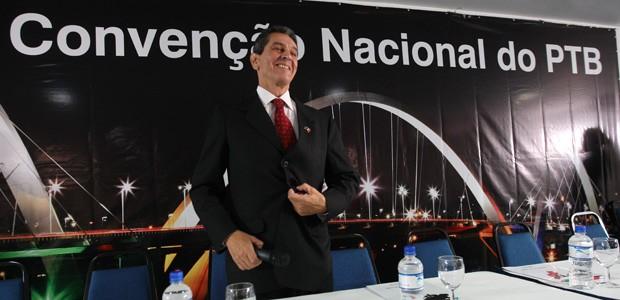 Roberto Jefferson durante Convenção Nacional do PTB, em Brasília (Foto: Ed Ferreira / Agência Estado)