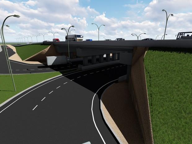 Trânsito será interditado para a construção de túnel no trecho da BR próximo a passarela de Neópolis, em Natal (Foto: Divulgação/ Dnit)