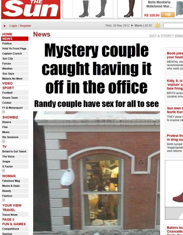 Casal foi flagrado fazendo sexo em um escritório em Nottingham. (Foto: Reprodução/The Sun)
