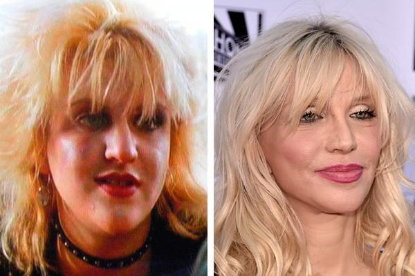Courtney Love em 1986 e em 2014 (Foto: Reprodução / Getty Images)