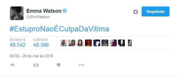 Emma Watson em seu perfil no Twitter (Foto: Reprodução)