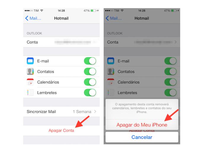 Saindo de uma conta do Hotmail vinculada ao Mail do iPhone (Foto: Reprodução/Marvin Costa)