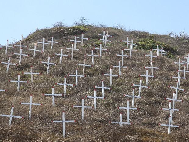 100 cruzes fincadas pelo Detran chamaram a atenção para as mortes no trânsito (Foto: De Jesus / O Estado)