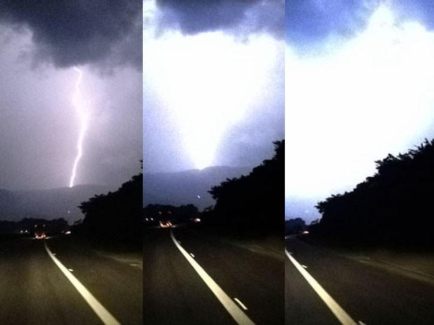 Sequência de raios em Cubatão (Foto: Luis Paes/TV Tribuna)