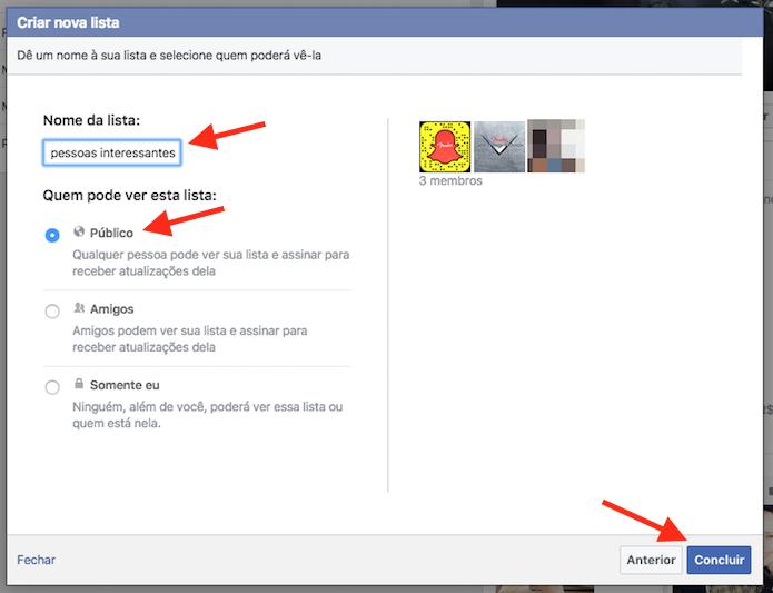 Página final para a criação de uma lista de interesse no Facebook (Foto: Reprodução/Marvin Costa)