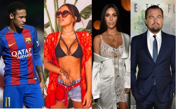 Neymar, Anita, Kim Kardashian e Leonardo DiCaprio (Foto: Instagram/Getty Images)