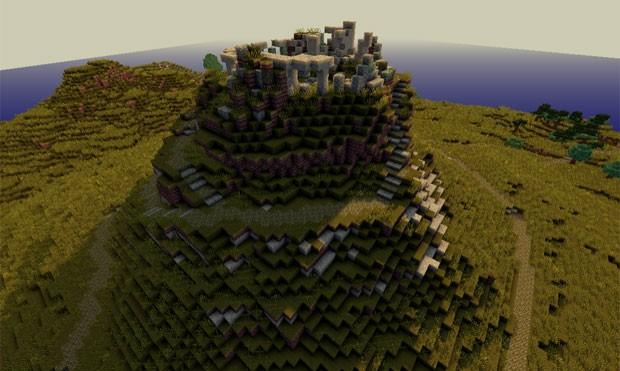 Wheathertop, onde Frodo foi atacado pelos Nazgûl em 'A Sociedade do Anel', recriado em 'Minecraft' (Foto: Divulgação/MCME)
