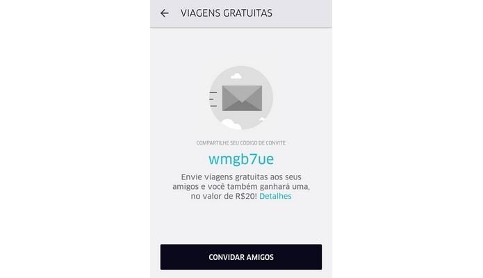Código promocional da viagem grátis do Uber (Foto: Reprodução/Raquel Freire)