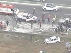 Mulher atropelada por carro com suspeitos sofre múltiplas fraturas