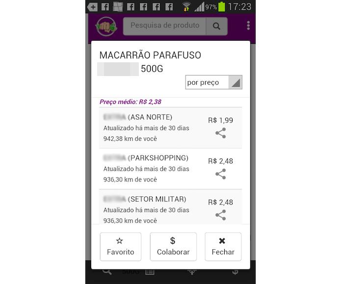 Opção de preços para um mesmo produto apresentada no aplicativo Murrinha (Foto: Reprodução/Marvin Costa)