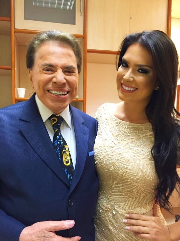 Débora Lyra e Silvio Santos (Foto: Divulgação)
