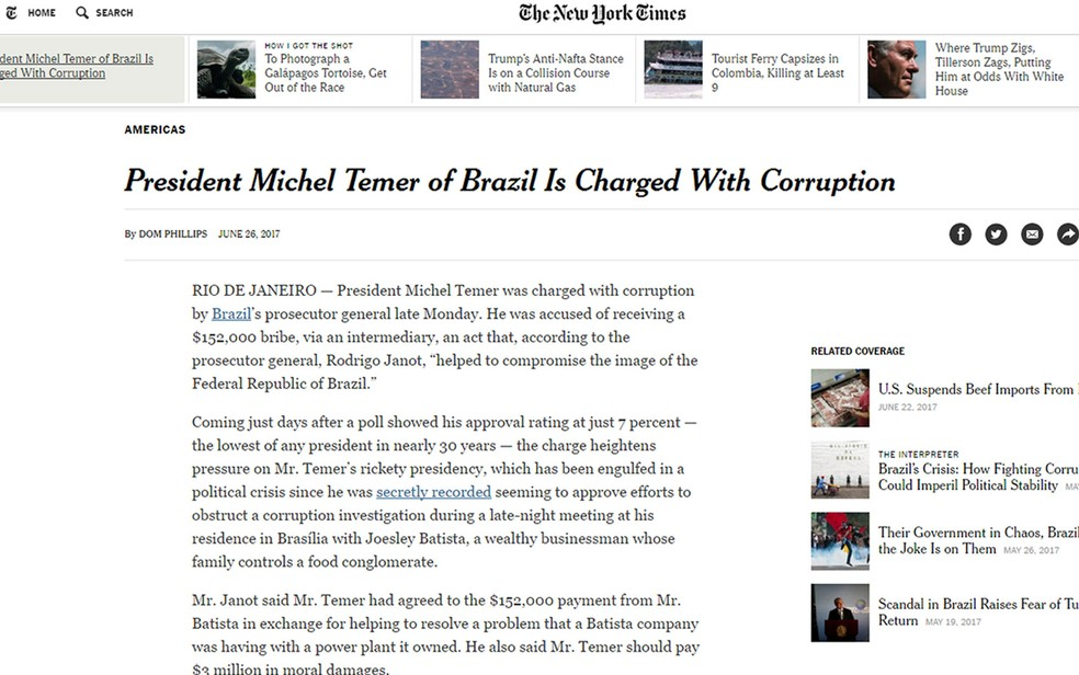 Matéria sobre a denúncia contra Temer foi publicada no 'The New York Times' (Foto: Reprodução/The New York Times)