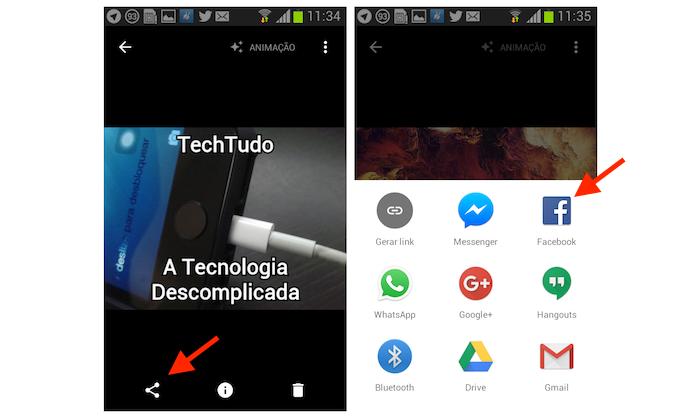 Definindo o Facebook como a opção de compartilhamento da GIF criada com o Google Photos para Android (Foto: Reprodução/Marvin Costa)