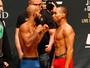 """Pesagem do UFC 191 tem encarada intensa e """"selfie"""" de pesos-pesados"""